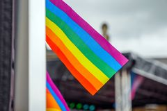 LGBT flags on main stage of Pride Festival Weekend in Love Northampton Market Square. Northampton UK, 18th May 2019: LGBT Flag on main stage of Pride Festival royalty free stock photography