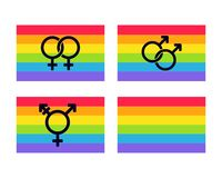 LGBT flags set. Set of LGBT rainbow flags with different types: Lesbian female and Gay male pride, and Genderqueer Transsexual symbols. Vector clip art vector illustration