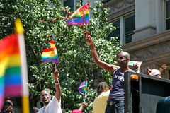 LGBT Gay Pride March in Manhattan. NEW YORK CITY - JUNE 24:  Large crowds gather for the annual NYC LGBT Gay Pride March in Manhattan on June 24, 2007. The March Stock Photography