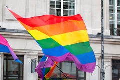LGBT Gay Pride Rainbow Flag. LGBT Gay Pride Rainbow Flag Being Waved At Pride ?March