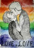 LGBT gays kissing kiss Love is love. Rainbow lesbians bisexuals pride feminism yaoi boys love drawing, art, picture, poster Royalty Free Stock Images