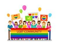 LGBT-gemenskap Glat ståta, semestra, festivalen, berömsymbol Lyckligt folk med plakat stock illustrationer