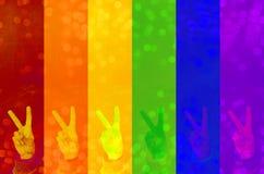 LGBT gesta wolność na kolorowym zamazanym tle z naturalnymi bokeh światła piłkami abstrakcjonistycznego symbolu tło - wizerunek obrazy stock