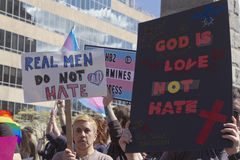 LGBT HB2 Rally - Real Men Don't Hate Stock Photo
