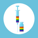 Lgbt health concept. Lgbt health vaccine concept. Stock vector illustration of vaccination for disease prevention in lesbian gay bisexual transgender group Stock Photos