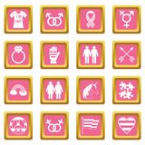 Lgbt icons pink. Lgbt icons set in pink color isolated vector illustration for web and any design royalty free illustration