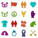 Lgbt icons doodle set Royalty Free Stock Photography