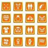 Lgbt icons set orange. Lgbt icons set in orange color isolated vector illustration for web and any design vector illustration