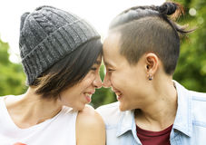 LGBT Lesbian Couple Moments Happiness Concept royalty free stock image