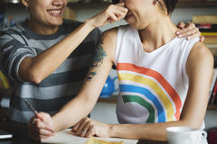 LGBT Lesbian Couple Moments Happiness Concept Royalty Free Stock Images