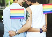 LGBT Lesbian Couple Moments Happiness Concept Stock Photo