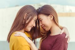 LGBT lesbian women couple moments happiness. Lesbian women couple together outdoors concept. Royalty Free Stock Photos