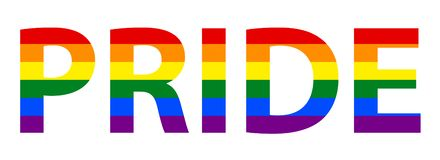 LGBT lesbiano, homosexual, bisexual y transexual Pride Text In Rainbow Flag ilustración del vector