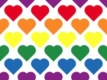 LGBT line heart seamless pattern of lesbian, gay, bisexual and transgender. LGBT heart seamless pattern of lesbian, gay, bisexual and transgender. Rainbow love royalty free illustration