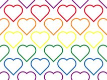 LGBT line heart seamless pattern of lesbian, gay, bisexual and transgender. Rainbow love shapes background. Geometric colorful wallpaper stock illustration