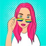 LGBT-meisje in pop-art royalty-vrije illustratie