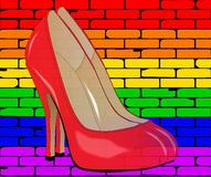 LGBT Painted Wall With Shoes Royalty Free Stock Photos