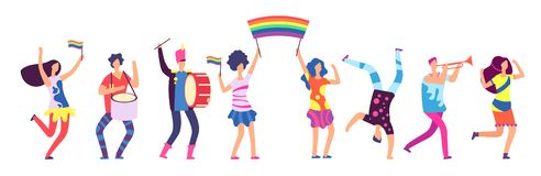 Lgbt parade. People holding rainbow flag. Gay love pride, sexual discrimination protest vector concept. Illustration of gay people, homosexual community stock illustration