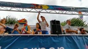 LGBT party truck with people partying, Antwerp gay parade, 10 August, 2019, Antwerpen, Belgium
