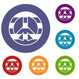 LGBT peace sign icons set Royalty Free Stock Photography