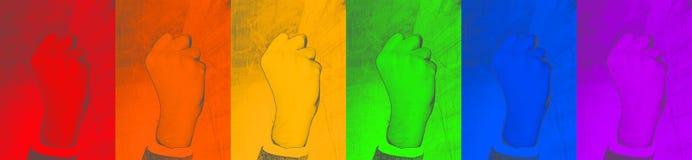 LGBT poing serré de geste - symbole de lutte pour leurs droites sur le fond coloré contexte abstrait de Web - image image stock