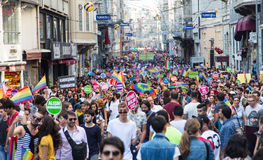 22. LGBT Pride March. ISTANBUL, TURKEY - JUNE 29, 2014: 22. LGBTI Pride March held in Istiklal Avenue, Istanbul. Tens of thousands of people gathered to stock photo