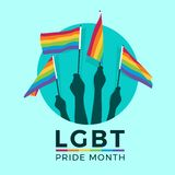 LGBT pride month with hands hold rainbow flag in circle vector design stock images