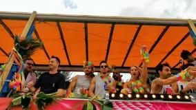 LGBT pride parade antwerp, partying people on a party trailer, 10 august, 2019, Antwerpen, Belgium
