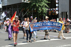 LGBT Pride Parade participants demanding freedom for Chelsey Manning in New York Stock Photography