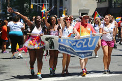 LGBT Pride Parade participants in New York City Stock Photo