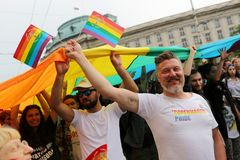 LGBT pride parade. Sofia, Bulgaria - 9 June 2018: People participate in the annual LGBT Sofia pride parade for equality and non-discrimination of the LGBT stock image