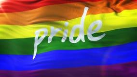 LGBT PRIDE Realistic Waving Flag Background med signalljuset Arkivfoto
