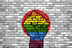 LGBT Protest Fist on a Japan brick Wall Flag. Illustration, Brick Wall Japan flag and Gay flags stock illustration