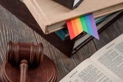 LGBT rainbow bookmark and gavel stock image