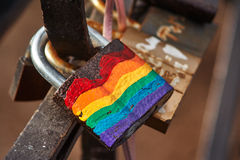 LGBT rainbow lock. Love lock with LGBT rainbow on it Stock Photo