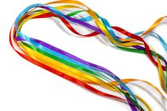 LGBT rainbow ribbon isolated on yellow background, copy space, top view royalty free stock photos