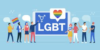 LGBT rights parade and online community. Multiethnic group of people supporting a LGBT rights parade and online community social media app, gender and equality royalty free illustration