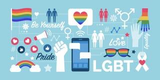 LGBT rights and social media community. LGBT rights, gender equality and social media community support, network of icons vector illustration
