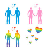 LGBT silhouettes. Same-sex love. Gays and lesbians. Blue and pin Royalty Free Stock Image