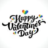 Lgbt społeczności walentynek dnia Szczęśliwy projekt 14 Lutego Tęcz serca i Szczęśliwy walentynka dnia literowanie na bielu Obrazy Stock