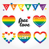 Lgbt support, fight for gay rights, hearts graphic set, rainbow colors. Stock Images