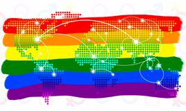 LGBT symbol. The color of rainbow flag and  world map virtual button on white background.  stock image