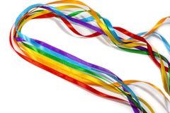 LGBT tęczy faborek odizolowywający na żółtym tle, kopii przestrzeń, odgórny widok zdjęcia royalty free