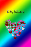 LGBT Valentines Day Card Valentines Day party invitation flyer background. With heart shapes and rainbow background Royalty Free Stock Image