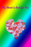 LGBT Valentines Day Card Valentines Day party invitation flyer background. With heart shapes and rainbow background Stock Photos
