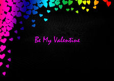 LGBT Valentines Day Card Valentines Day party invitation flyer background. With heart shapes and rainbow background Stock Image