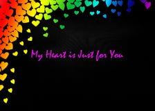 LGBT-Valentinsgruß-Tageskarten-Valentinsgruß-Tagesparteieinladungs-Fliegerhintergrund Lizenzfreie Stockbilder