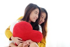 LGBT, Young cute asia lesbians huging and holding red heart shape willow together with happy smiling, couple. Lesbians, valentine`s day concept royalty free stock photography