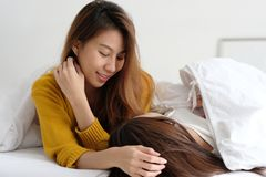 LGBT, Young cute asian women lesbian couple happy moment, friendship, homosexual, lesbian couple lifestyle stock image