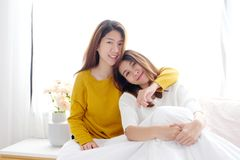 LGBT, Young cute asian women lesbian couple happy moment, homosexual, lesbian couple lifestyle stock images
